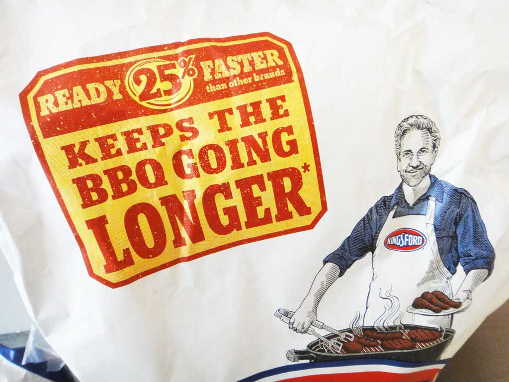 Many individual (non-twin pak) bags of 2015 formula Kingsford Charcoal Briquets carry this bright yellow and red advertising claim.