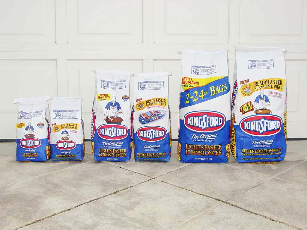 Old and new bags of Kingsford are the same physical size. From left to right: 5lb and 4.5lb, 10lb and 9lb, and 24lb and 21.6lb.