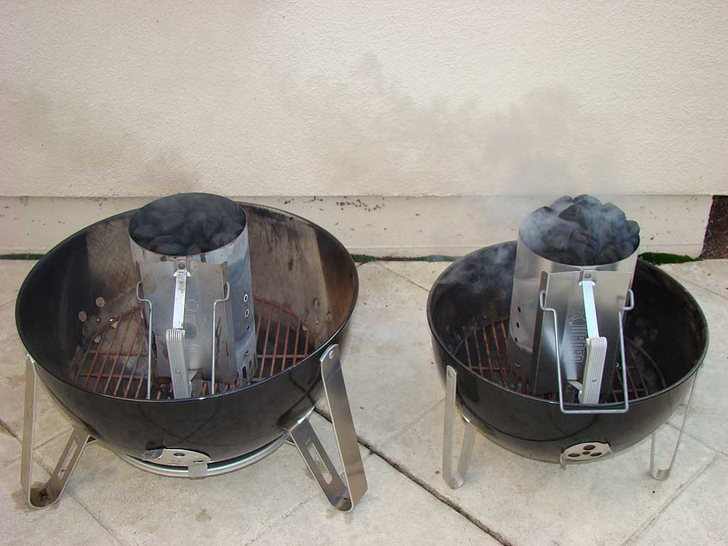 "Lighting ""blue bag"" Kingsford (left) and new Competition Briquets (right)"
