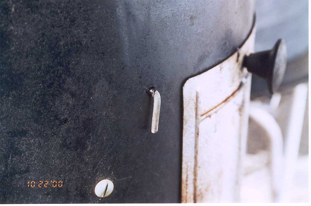 View of support rod entry point