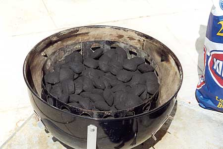 Charcoal chamber filled with briquettes