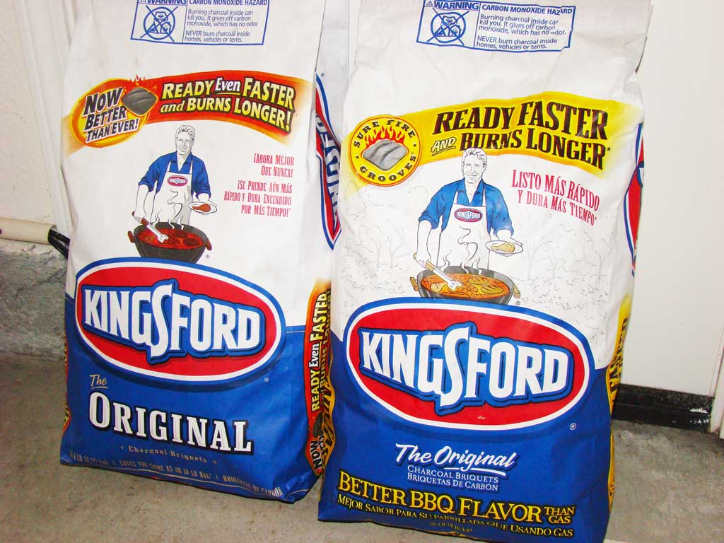 2010 formula Kingsford Charcoal Briquets (left) and a 2009 bag (right).