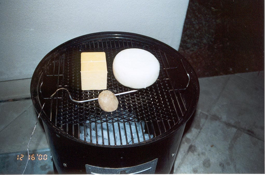 Probe held over grate using a potato