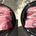 "Ribs flat on grate, 18"" left, 22"" right"
