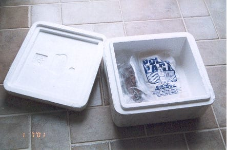 Styrofoam shipping box