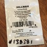 "Hillman Thread Cutting Nut 7/16 Hex 1/4"" Stud packaging"
