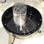 Lighting the chimney starter