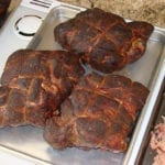 Close-up of three cooked butts