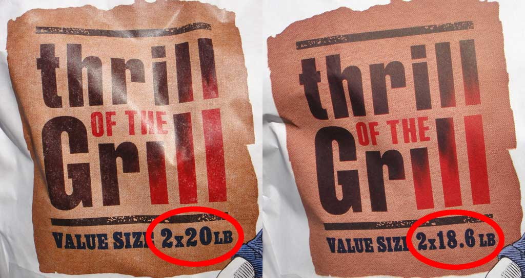 Twin-pak logo on 2014 Kingsford (left) and 2015 Kingsford (right) indicate 1.4 lb (7%) reduction in bag weight.
