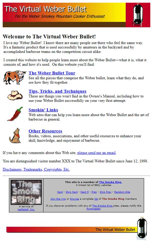 The Virtual Weber Bullet in 1999