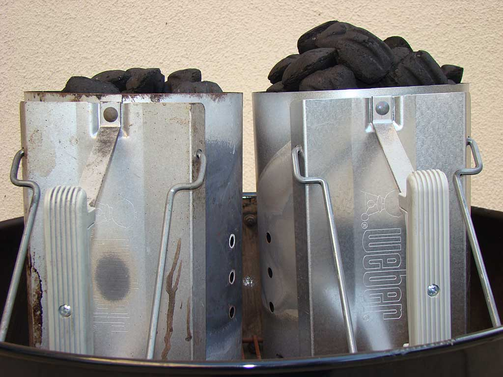 "Two Weber chimney starters of ""blue bag"" Kingsford (left) and new Competition Briquets (right)"