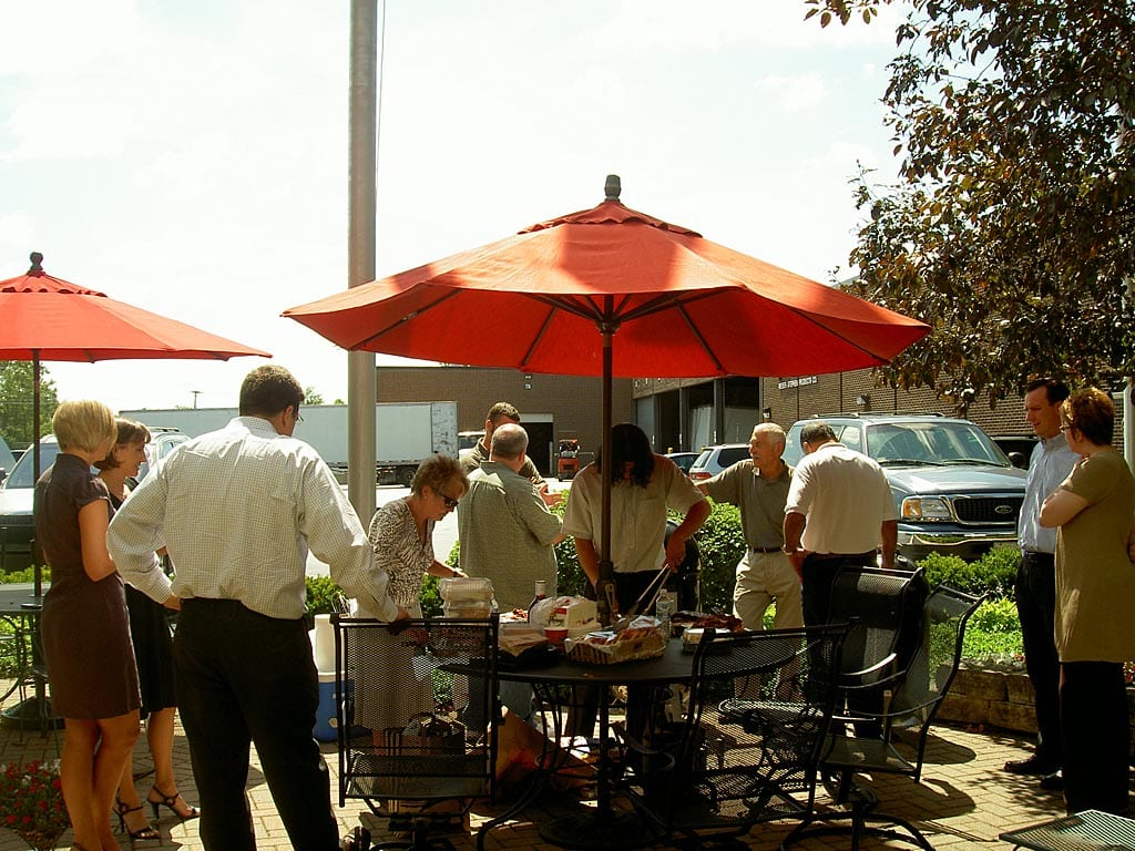 Gathering for lunch in front of Weber HQ
