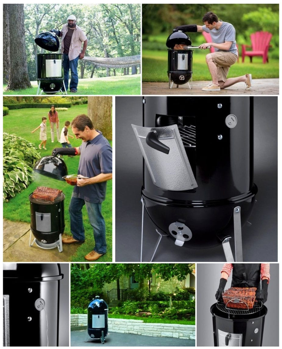 Weber Smokey Mountain Cooker Smoker photo collage