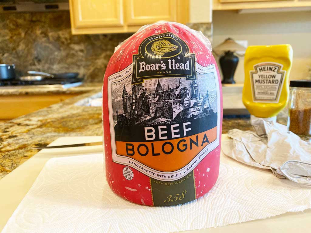 Half chub of beef bologna in packaging
