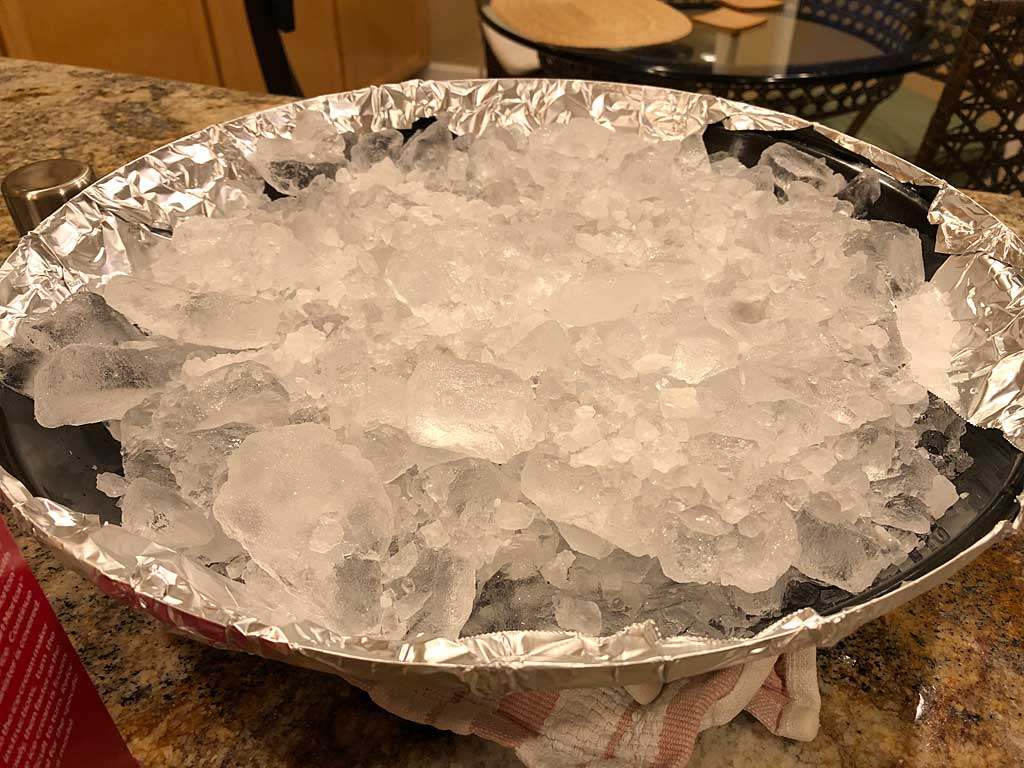 Water pan filled with ice