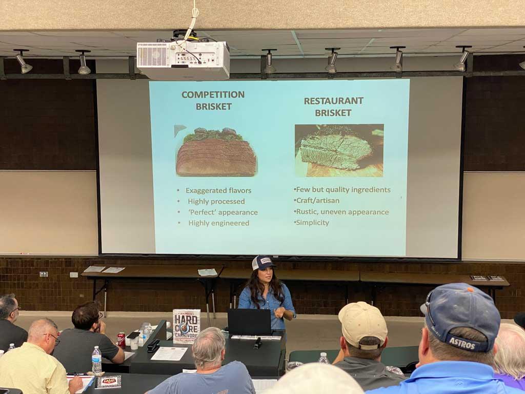 Jess Pryles lectures on competition brisket versus restaurant brisket