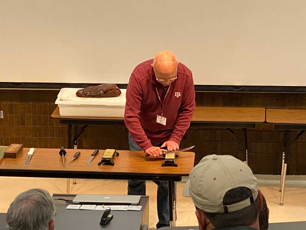 Dr. Jeff Savell demonstrates how to sharpening a knife