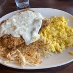 Chicken fried steak, scrambled eggs & hashbrowns at Standard Diner