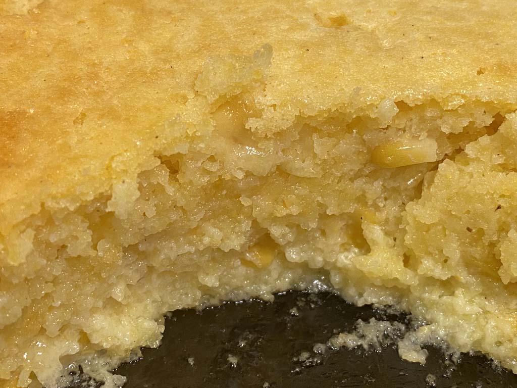 Interior view of spoon bread casserole