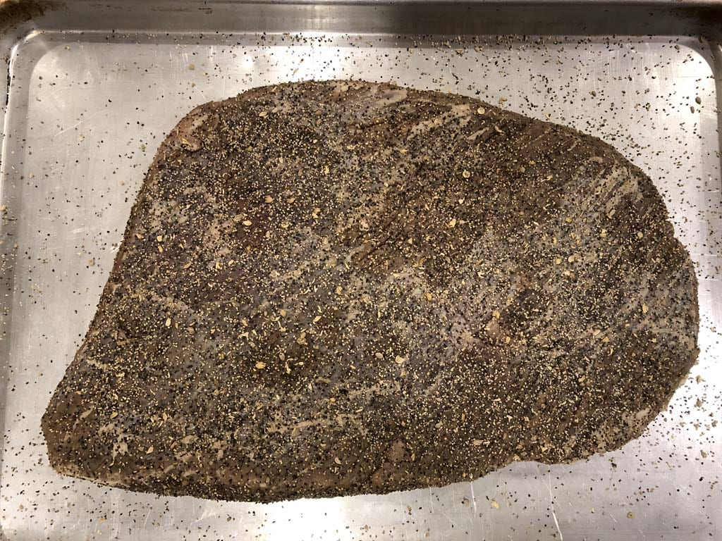 Cooking rub on cured brisket