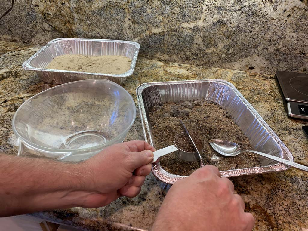 """Measuring the volume of ashes using the """"dip & sweep"""" method"""