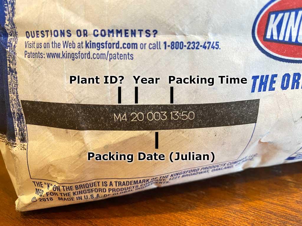 Production code on 2020 Kingsford Briquets bag