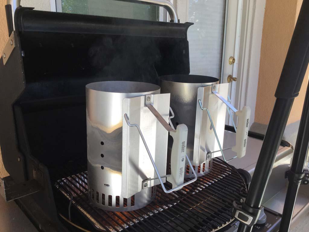 Charcoal chimneys over foil pans
