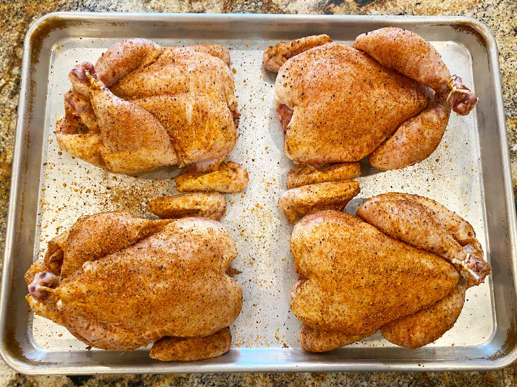Rubbed and tied Cornish game hens