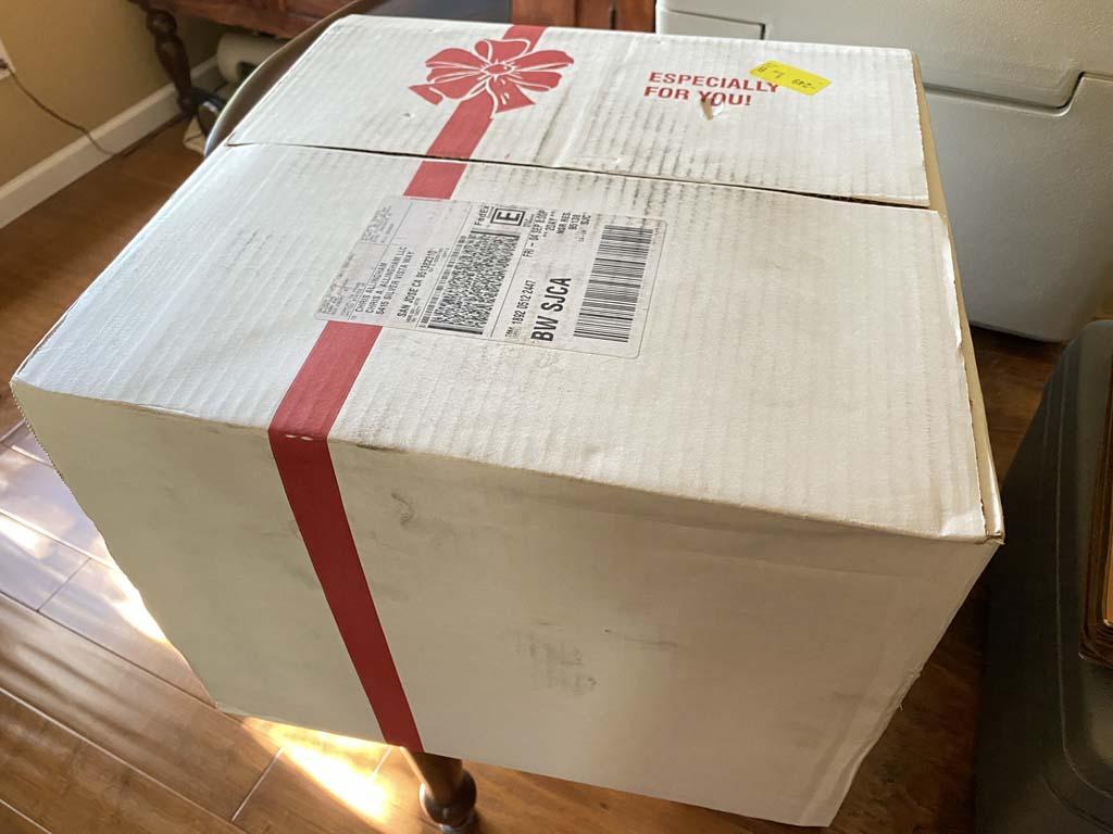 Insulated box of frozen giant Texas turkey legs