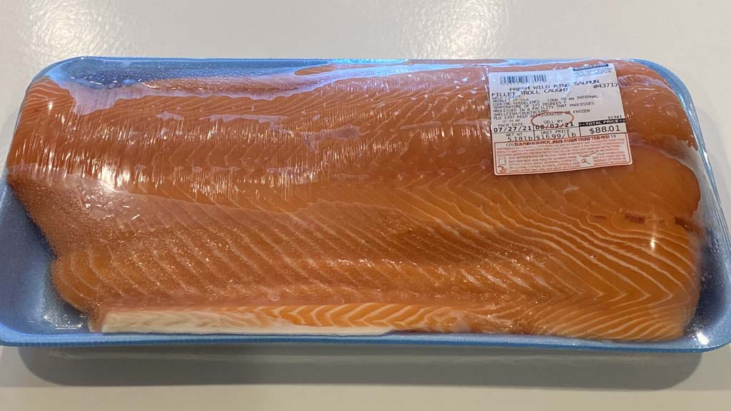 Side of wild-caught King salmon in packaging