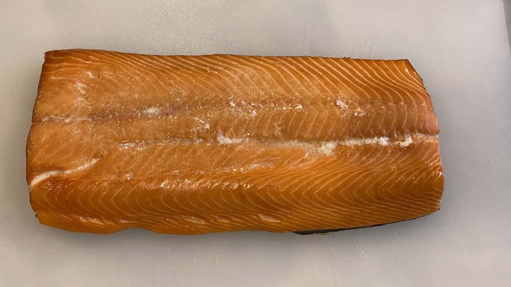 Smoked salmon before slicing