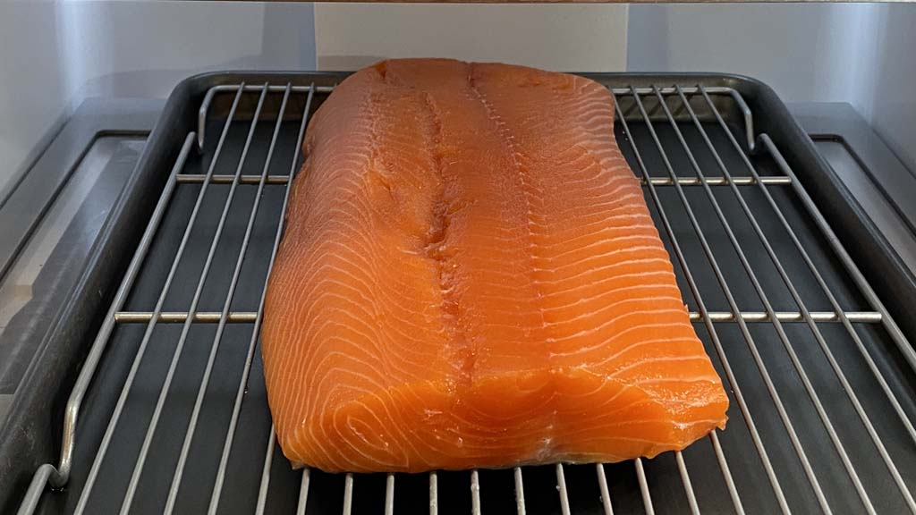 Cured salmon drying in refrigerator