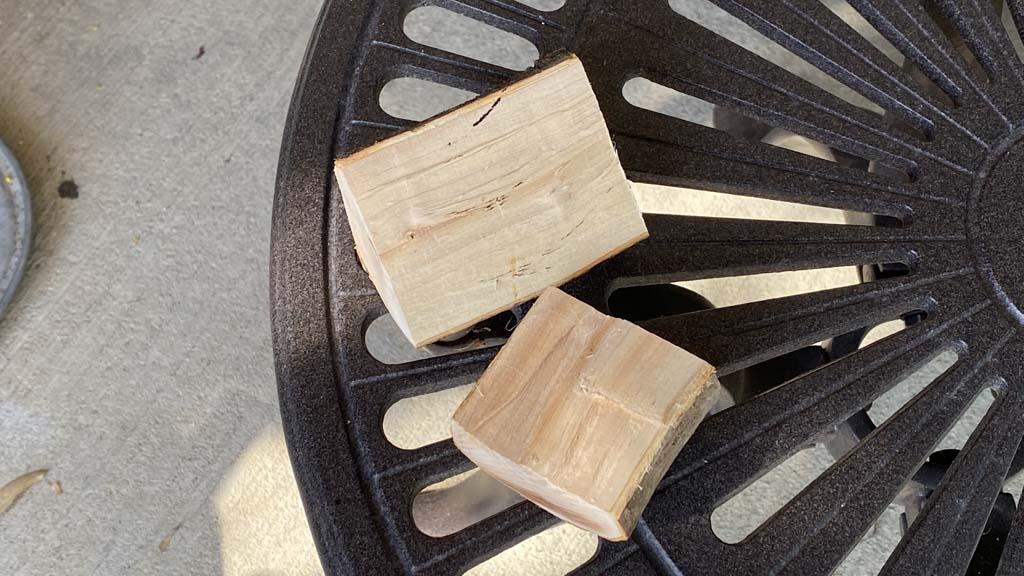 Two chunks of apple smoke wood
